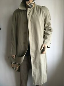 BURBERRY MENS L LARGE 40-44 CLASSIC CHECK LINED TRENCH COAT RAINCOAT MAC