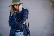 ZARA Blu Navy breve pelliccia giacca cappotto Medium M