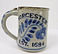 Vtg Handmade Art Pottery Blue Salt Glaze Worcester Est 1684 Mug Signed Harvey