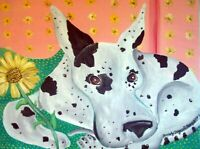 GREAT DANE with Sunflowers Art Print Signed by Artist KSams Dog Collectible 8x10