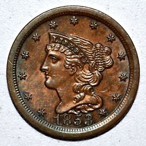 1853 BRAIDED HAIR HALF CENT ✪ UNCIRCULATED DETAILS ✪ 1/2C L@@K O815 ◢TRUSTED◣
