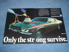 """1973 Plymouth Road Runner Vintage 2pg Ad """"Only the Strong Survive"""""""