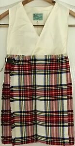 "Vintage Child's Scottish Plaid ""STRONE HOUSE"" Wool Kilt Dress SZ 26 - never worn"