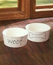Farmhouse Style Dog Puppy Food and Water Bowl Set - Stoneware Pet Set White