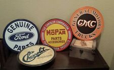 Car Lover Lot of 4 signs Mechanic mancave  Chevy GMC Mopar Ford Round metal