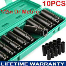 "Deep Impact Socket Set 1/2"" Drive Long Reach Thin Wall 10 Metric Sockets 10-24mm"