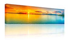 """Medium panoramico 10"""" x 30"""" Arancione & Verde Acqua SUNSET Wall Art foto su tela GRATIS P&P"""