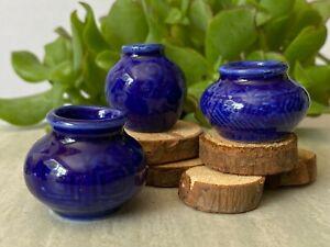 Miniature Dollhouse FAIRY GARDEN Accessories ~ Blue Ceramic Vase Pot Set of 3
