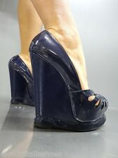MORI ITALY PLATFORM WEDGES HEELS PUMPS SCHUHE SHOES PEEP TOE LEATHER BLUE BLU 39