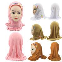 Muslim Kids Girls/Adult Flower Islamic Headscarf Plain Scarf Caps Arab New