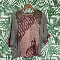Anthropologie Tiny Mixed Media Sequin Velvet Patchwork Top Women's Medium