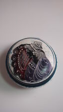 Trinket Box Blue Hand Painted Gift Round Stoarge Jewlery Boxes Collectible Girl