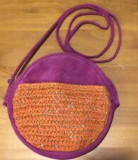 Anthropologie Fuchsia Pink Suede / Raffia Round Circle Crossbody Bag NWOT