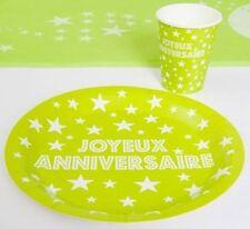 10 Assiettes Carton Jetables Joyeux Anniversaire VERT Anis décoration table fête