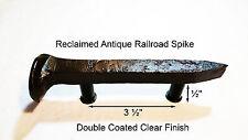 """3-1/2"""" Left Sealed Railroad Spike Dresser Drawer Cabinet Handle Antique Vintage"""