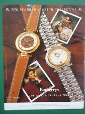 10/1989 PUB MONTRES BURBERRYS LONDON WATCH ORIGINAL FRENCH ADVERT