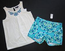 Gap girls VILLA OASIS Mediterranean mosaic aqua blue shorts tank top shirt 10 12