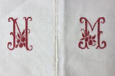 Antique French linen sheet ~ MM  monogram 77X98 ~ CHARMING cross stitch mono red