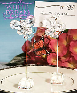 Clear - Butterfly Crystal - Place Card Holder Wedding Favours | Table Decoration