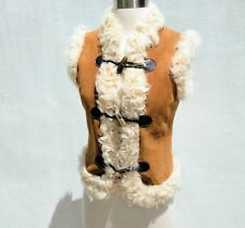 JOIE Women's Camel SHEEP SKIN IVORY FUR LINED LEATHER VEST Horn Toggle Jacket XS