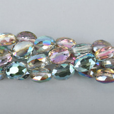 12mm NORTHERN LIGHTS Oval Faceted Crystal Glass Beads rainbow 10 beads, bgl1628