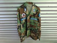 MILITARY SURPLUS SHIRT JACKET WITH CIVIL AIR PATROL PATCHES CAMO SIZE L
