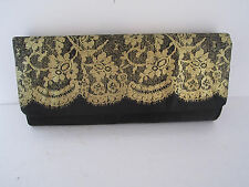 Womans Black Satin Look and Feel Fancy Purse W/Gold Glitter Design New