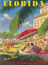 Florida Go by Train United States America Vintage Travel Advertisement Poster