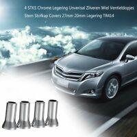 4PCS Chrome Alloy Universal Silver Wheel Tyre Valve Caps Stem Dust Cover 41