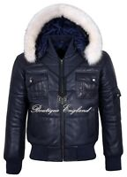 Men's Puffers Hooded Bomber Jacket Navy Real Lambskin Leather Pilot 6 Puffer