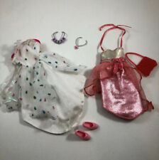 Mattel Barbie Clothing Lot 2 Dresses Jewelry Purse And Shoes