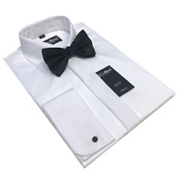 "100% COTTON SWISS PLEAT WHITE DRESS SHIRT BOW TIE 15 16 17 18 19 21 22 23 1/2 """