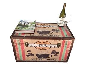 Colombia Coffee Medium Wood Storage Trunk Wooden Hope Chest