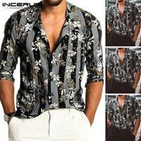 Men's Casual Long Sleeve Flower Printed Hawaiian T Shirts Beach Holiday Tops Tee