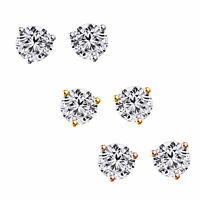 Round Solitaire Stud Earrings 1/2Ct Martini Style Solid 14K Gold Screwback