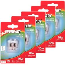 10 x EVEREADY G4 10W Halogen Capsule Bulb CLEAR 120 Lumens 12V Lamp