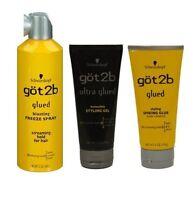 Swhwarzkopf Got2b Glued, Ultra glued gel, Spiking glue & Blasting freeze Spray