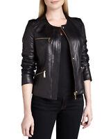 Femmes Veste cuir noir coupe slim veste en cuir d'AGNEAU STYLE MOTARD