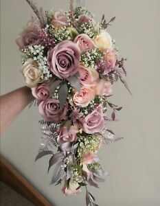 Bridal Cascade Luxury Rose Gold & Dusty Pink Teardrop/Shower Wedding Bouquet
