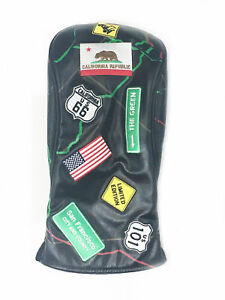 NEW PRG Golf Route 66 Black Leather Driver Headcover
