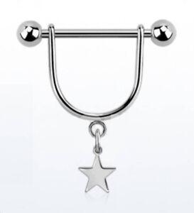 Nipple Bar Stirrup - with Dangle Star - Surgical Steel Bar