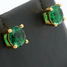 1 Ct Green Round Emerald Stud Earring Women Jewelry 14K Gold Plated Nickel Free