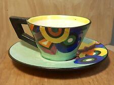 Vtg MRAZEK Green POTTERY TEA CUP w/ SAUCER ~ ART DECO Bauhaus GEOMETRIC ~ RARE