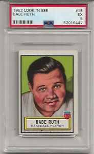 1952 LOOK 'N SEE #15 BABE RUTH , PSA 5, HOF, NEW YORK YANKEES, L@@K !