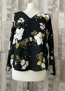 River Island Black Floral Lace Back Detail Top Boho Style Size 8