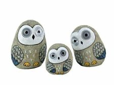Solar Owls with Light Up Eyes Set of 3