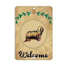 Welcome Komondor Dog Metal Sign - 8 In x 12 In