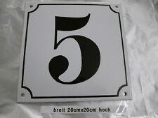 Mega Groß Hausnummer Emaille Nr 5 schwarze Zahl weißer Hintergrund 20cmx20 cm