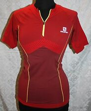 Salomon Cycling Jersey L NWT Shirt Sample New Red Exo Motion Zip Tee Womens Top