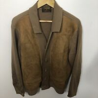 Vintage Tundra Brown Wool Suede Men XL Knit Cardigan Jacket Grandpa Dad